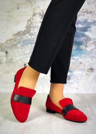 Натуральный замш+кожа стильные красные туфли2 фото