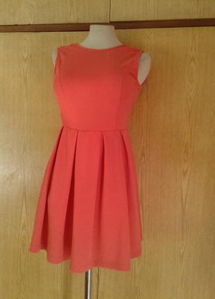 Коралловое платье с кружевной спинкой, s.3 фото