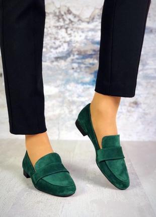 Натуральный замш стильные туфли изумруд2 фото