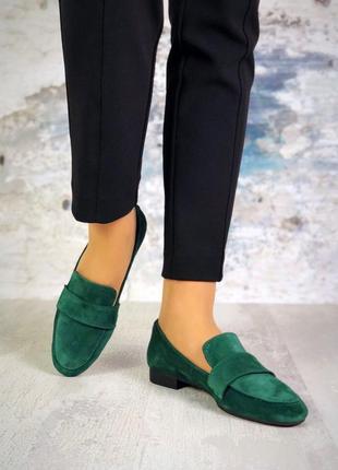 Натуральный замш стильные туфли изумруд3 фото