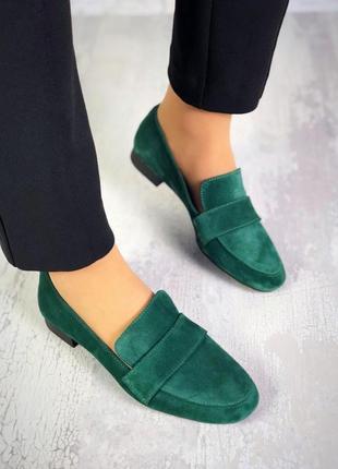 Натуральный замш стильные туфли изумруд1 фото