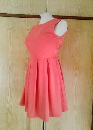 Коралловое платье с кружевной спинкой, s.4 фото