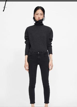 Чёрные джинсы скинни с лампасами с бусинами  zara1 фото