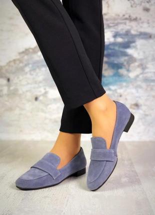 Натуральный замш стильные серые туфли2 фото