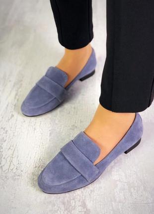 Натуральный замш стильные серые туфли1 фото