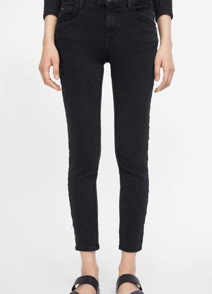Чёрные джинсы скинни с лампасами с бусинами  zara5 фото