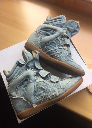 Джинсовые кроссовки isabel marant. оригинал.8 фото