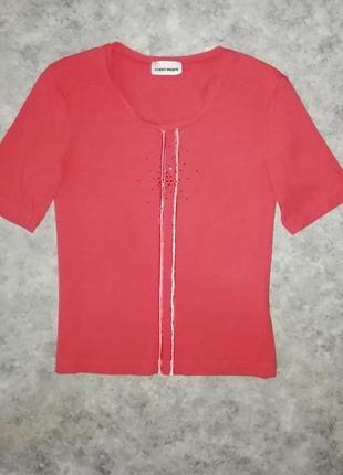 Симпатичная брендовая футболка, красивый терракотовый цвет3 фото
