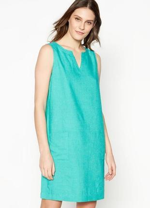 Сочный яркий бирюзовый льняной сарафан платье-шифт