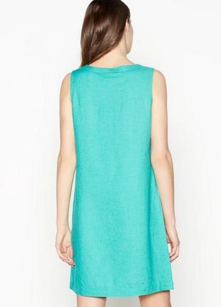 Сочный яркий бирюзовый льняной сарафан платье-шифт2 фото
