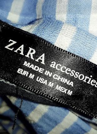Полосатый голубой палантин шарф zara5 фото
