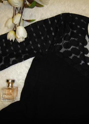 Красивое платье с гипюровым рукавом mango, тянется6 фото