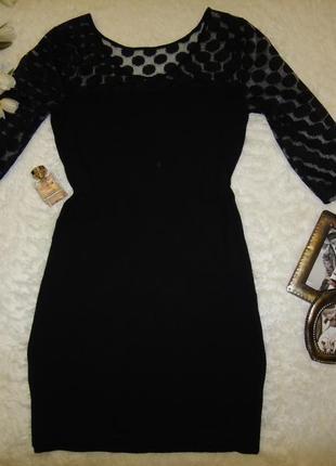 Красивое платье с гипюровым рукавом mango, тянется2 фото