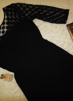 Красивое платье с гипюровым рукавом mango, тянется3 фото