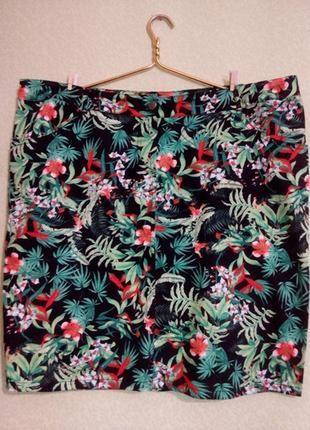 Яркая хлопковая юбка большого размера 54-562 фото