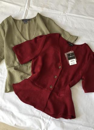 Вишневая блуза с пуговками