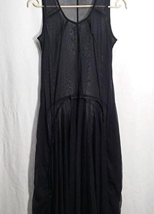 Matin blanc, платье прозрачное сетка накидка черная1 фото