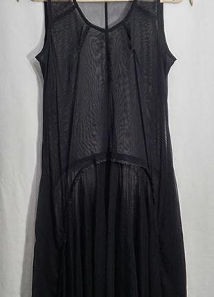 Matin blanc, платье прозрачное сетка накидка черная4 фото