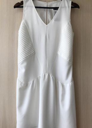 Белое платье promod с плиссированными вставками, s, m, l