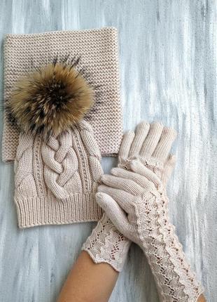 Комплект из итальянской 100% мериносовой шерсти шапка перчатки снуд1 фото