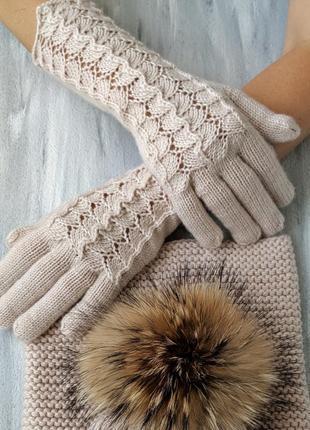 Комплект из итальянской 100% мериносовой шерсти шапка перчатки снуд2 фото