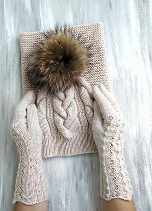 Комплект из итальянской 100% мериносовой шерсти шапка перчатки снуд3 фото