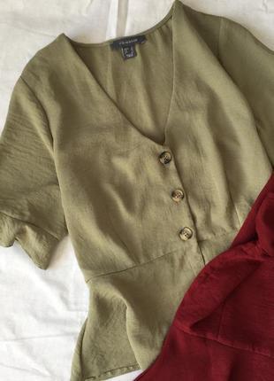 Оливковая блуза с пуговками primark
