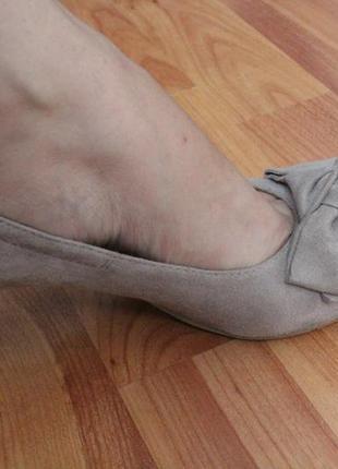 Бежевые замшевые туфли 37 37.5 размер натур.замша туфли с бантом7 фото