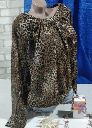 Леопардовая блузка с открытой спиной1 фото