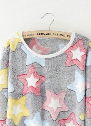 Женский свитер плюшевый. свитер со звездами, женский мягкий свитер4 фото