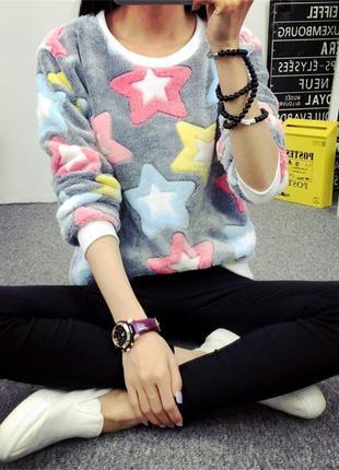 Женский свитер плюшевый. свитер со звездами, женский мягкий свитер6 фото