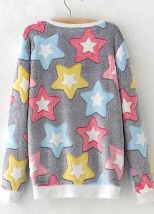 Женский свитер плюшевый. свитер со звездами, женский мягкий свитер2 фото