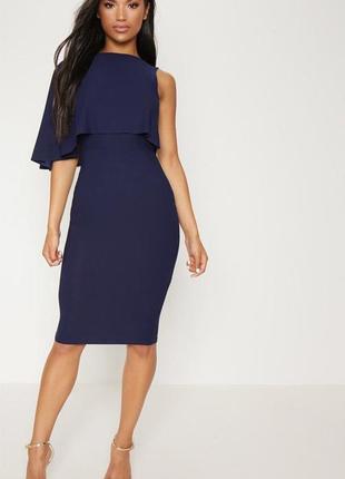 Синее платье с волной на одну сторону1 фото