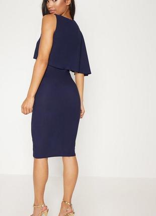 Синее платье с волной на одну сторону2 фото