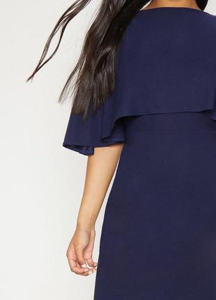 Синее платье с волной на одну сторону4 фото