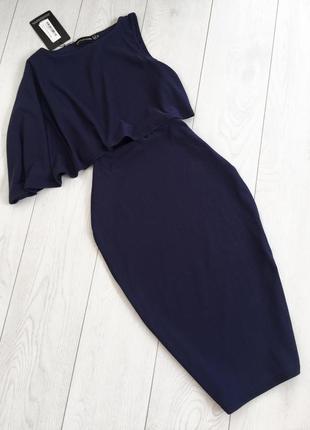 Синее платье с волной на одну сторону5 фото