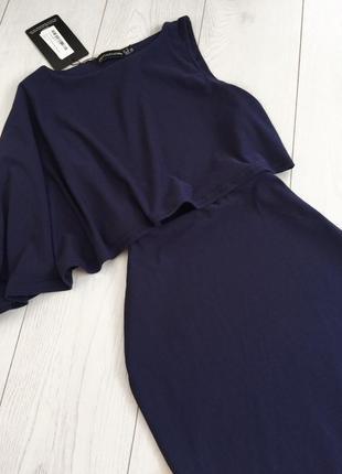 Синее платье с волной на одну сторону6 фото