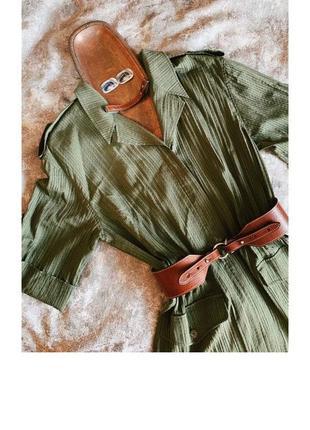 Зелёное винтажное платье милитари ретро1 фото