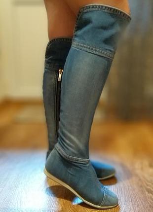 Продам крутые джинсовые сапоги-ботфорты stefani e-sax1 фото