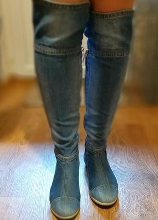 Продам крутые джинсовые сапоги-ботфорты stefani e-sax3 фото