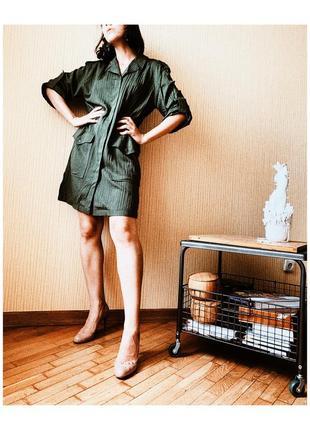 Зелёное винтажное платье милитари ретро4 фото