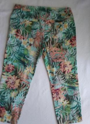 Стрейчевые брюки джинсы с тропическим принтом большого размера. принтом2 фото