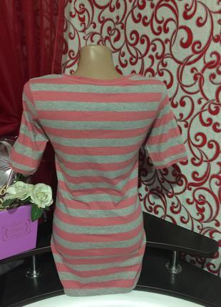 *качественная полосатая удлиненная футболка*3 фото