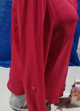 Блузка классическая прчмая  малинового цвета4 фото