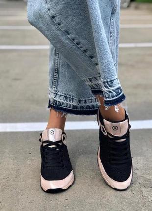 Натуральная кожа супер стильные контрастные кроссовки черный-пудра2 фото