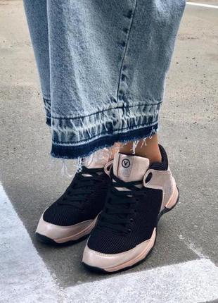 Натуральная кожа супер стильные контрастные кроссовки черный-пудра3 фото