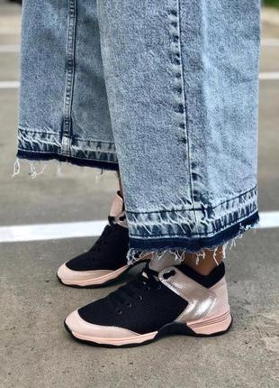 Натуральная кожа супер стильные контрастные кроссовки черный-пудра