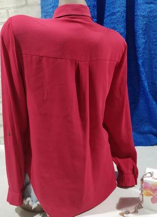 Блузка классическая прчмая  малинового цвета2 фото