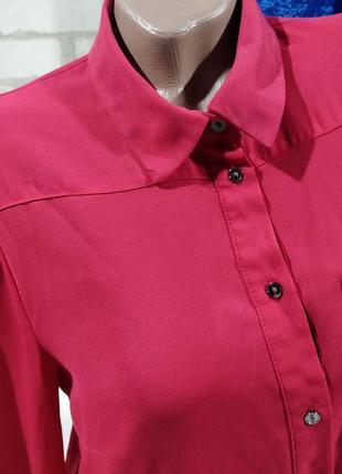 Блузка классическая прчмая  малинового цвета5 фото