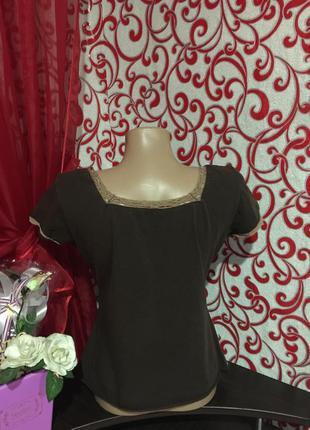 Красивая футболка с вязаным ажурным кружевом и вышивкой на 50 р4 фото